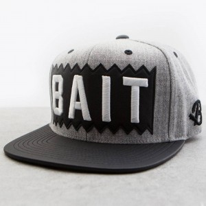 BAIT x Mitchell And Ness Box Logo Snapback Cap - Leather Brim (grey / black)