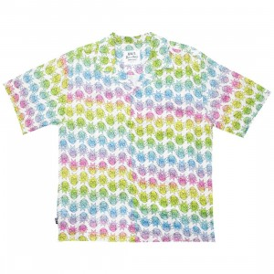 BAIT x Rick And Morty Men Face Hawaiian Button Up (white / rainbow face)