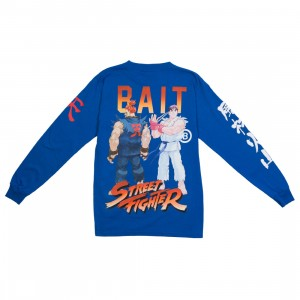 BAIT x Street Fighter Men Akuma Versus Ryu Stance Long Sleeve Tee (blue / royal)