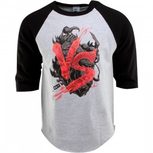 BAIT x Street Fighter Akuma VS Ryu Raglan Tee - Long Vo (gray / heather gray / black / black)