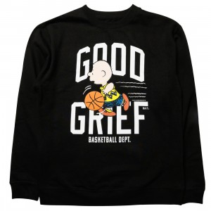 BAIT x Snoopy Men Good Grief Athletics Crewneck Sweater (black)