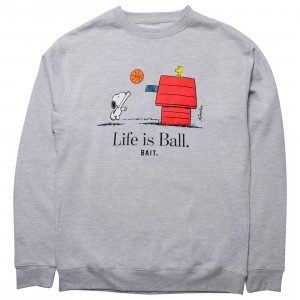 BAIT x Snoopy Men Life Ball Crewneck Sweater (gray / heather)