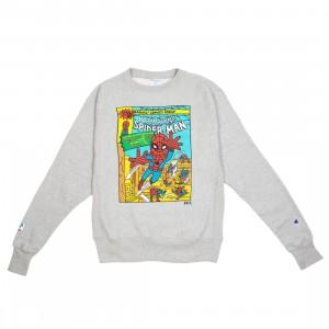 BAIT x Spiderman x Champion Men Spiderman Comic Crewneck Sweater (gray)