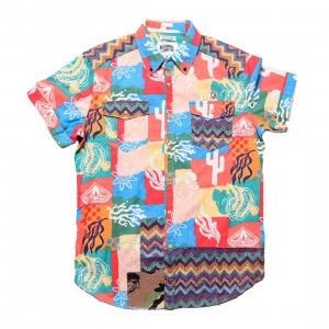 Billionaire Boys Club Men Axis Woven Short Sleeve Shirt (pink / deep sea coral)