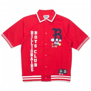 Billionaire Boys Club Men Marquee Knit Shirt (red)