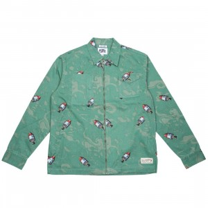 Billionaire Boys Club Men Space Woven Shirt (green)