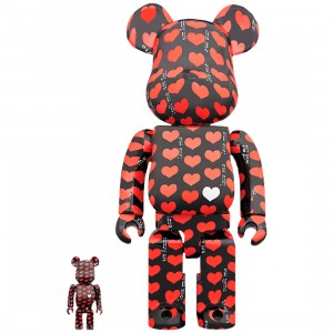 PREORDER - Medicom Black Heart 100% 400% Bearbrick Figure Set (red)
