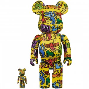 PREORDER - Medicom Keith Haring #5 100% 400% Bearbrick Figure Set (yellow)