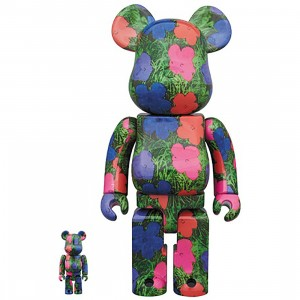 PREORDER - Medicom Andy Warhol Flowers 100% 400% Bearbrick Figure Set (green)