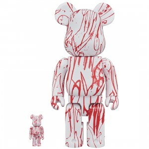 PREORDER - Medicom Curtis Kulig Love Me 100% 400% Bearbrick Figure Set (white)