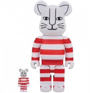 PREORDER - Medicom x Lisa Larson Mikey Flocky Ver. 100% 400% Bearbrick Figure Set (red)