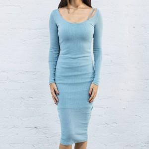BAIT Women Body Con Dress With Inner Slip - Made in LA (blue / baby blue)