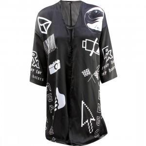 Dimepiece Women Verbage Symbol Kimono (black)
