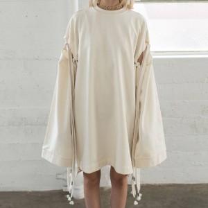 Puma x Fenty By Rihanna Women Staggered Hem Sweater Dress (white / vanilla ice)
