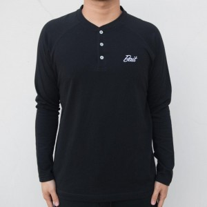 BAIT Men Core Henley Long Sleeve Tee (black)