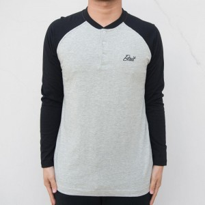 BAIT Men Core Henley Long Sleeve Tee (gray / black)