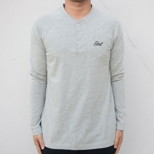 BAIT Men Core Henley Long Sleeve Tee (gray)