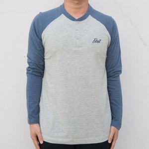 BAIT Men Core Henley Long Sleeve Tee (gray / blue)