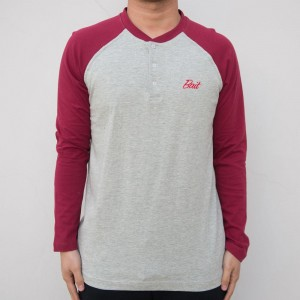 BAIT Men Core Henley Long Sleeve Tee (gray / burgundy)