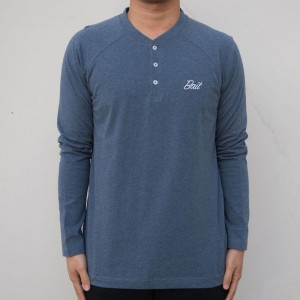 BAIT Men Core Henley Long Sleeve Tee (blue)