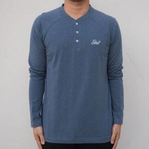 BAIT Men Core Henley Long Sleeve Tee (blue)