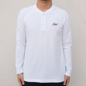 BAIT Men Core Henley Long Sleeve Tee (white)