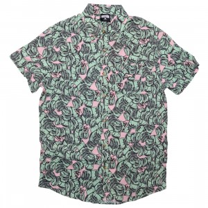 Ice Cream Men Hundreds Woven Short Sleeve Shirt (green / rose smoke)