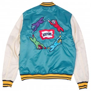 Ice Cream Men Retro Varsity Jacket (teal)