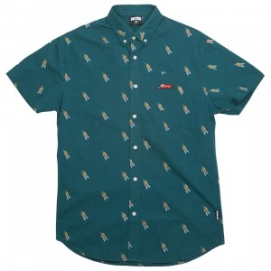 Ice Cream Men Lift Woven Short Sleeve (green / deep teal)