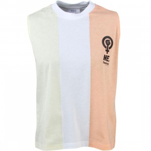 Reebok x Melody Ehsani Women Stripe Blocked Graphic Tank Top (tan / desert storm / white)