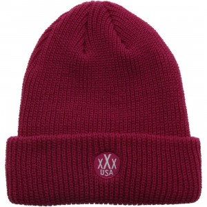 10 Deep Dot Logo Knit Beanie (pink / fuschia)