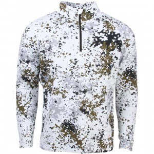 Undefeated Men TX5 Half Mock Zip Jacket (white / camo)