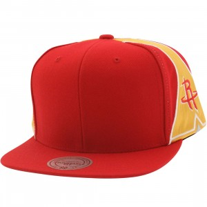 Mitchell And Ness Houston Rockets Blank Front Snapback Cap (red)