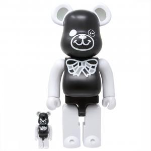 Medicom x Freemasonry x Fragment Design Black 100% 400% Bearbrick Figure Set (black)