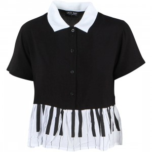 Lazy Oaf Women Piano Shirt (black / white)