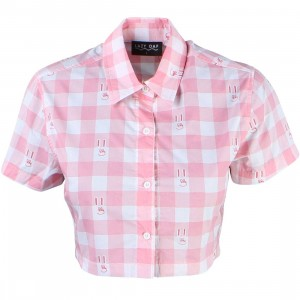 Lazy Oaf Women Bunny Gingham Shirt (pink)