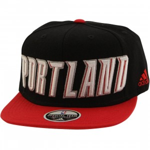 Adidas NBA Portland Trail Blazers On Court Snapback Cap (black / red)