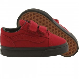 Vans Toddlers Old Skool V - Black Sole (red / jester)