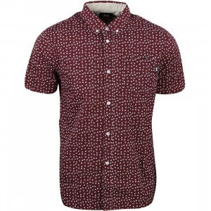 Stussy Men Dot Outline Shirt (burgundy)