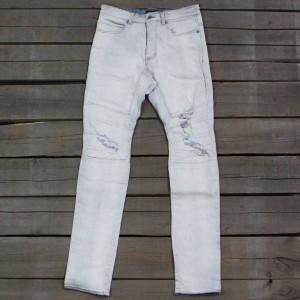 Zanerobe Men Scrambler Denim Moto Jeans (blue / blonde rip)