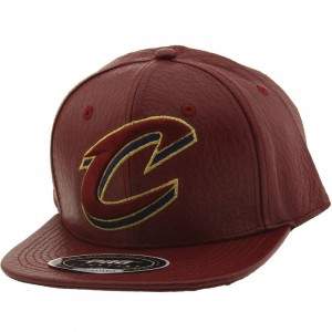 Pro Standard NBA Cleveland Cavaliers C Logo Leather Adjustable Cap (burgundy / wine)
