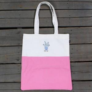 Lazy Oaf Shut Up Tote Bag (white / pink)