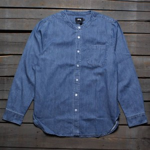 Stussy Men Grandad Shirt (blue / light)