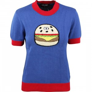 Lazy Oaf Women Burger Knit Tee (blue / red)