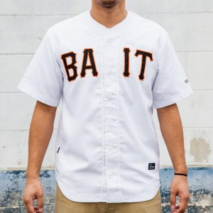 BAIT Men Sluggers Baseball Jersey (white / black / orange)