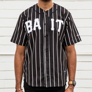 BAIT Men Sluggers Baseball Jersey - Pinstripe (black / white / pinstripe)