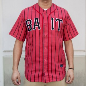 BAIT Men Sluggers Baseball Jersey - Pinstripe (red / black)