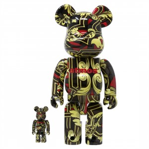 Medicom Atmos Scarf 100% 400% Bearbrick Figure Set (black)