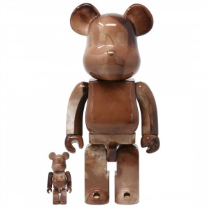 Medicom Pushead #4 100% 400% Bearbrick Figure Set (brown)