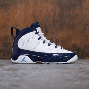 Air Jordan 9 Retro (GS) Big Kids Boy (white / university blue-midnight navy)